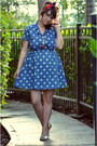 White-vintage-shoes-blue-polka-dot-oasap-dress