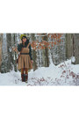 Dark-brown-slouchy-delias-boots-camel-corduroy-thrifted-vintage-dress