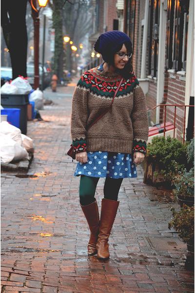 dark brown thrifted vintage sweater - dark brown Michael Kors boots
