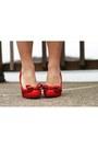 Ruby-red-bow-miss-l-fire-heels-black-striped-asos-dress