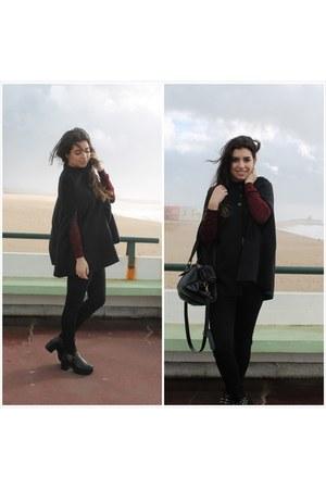 black PERSUNMALL boots - black sammydress cape
