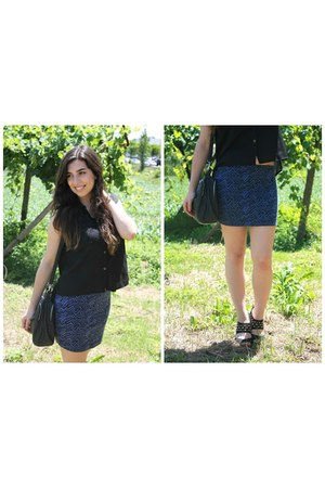 black Primark bag - navy New Yorker skirt - black H&M blouse