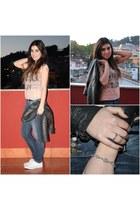 dark gray fake leather Zara jacket - navy Tiffosi jeans