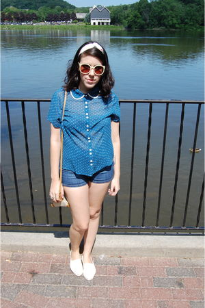 blue thrifted blouse - blue Urban Outfitters shorts - beige TOMS Shoes shoes - b