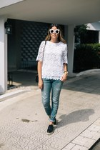 white cat eye Celine sunglasses - navy distressed Saint Laurent jeans