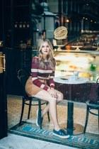 maroon striped Stradivarius sweater - crimson sac de jour Saint Laurent bag