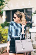 navy striped Saint Laurent sweater - heather gray structured Saint Laurent bag