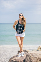 superstar Adidas sneakers - denim MinkPink shorts