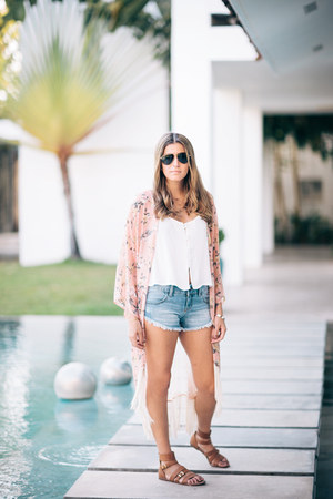 gold Dogeard necklace - denim Billabong shorts - aviator Ralph Lauren sunglasses