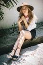 Dark-brown-wide-brim-forever21-hat-pink-bandana-coach-scarf