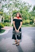 black knitted clutch Pull & Bear bag - red bandana Zara scarf - black Zara flats