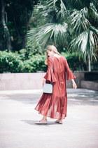 maxi H&M dress - shoulder bag Bottega Veneta bag - ankle strap Zara flats