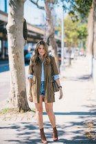 army green military Zara jacket - dark brown peep toe Giuseppe Zanotti boots