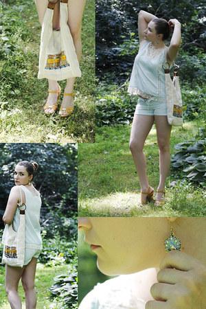 lace Sugarlips top - hand-made bag - shorts - yellow gold wedges