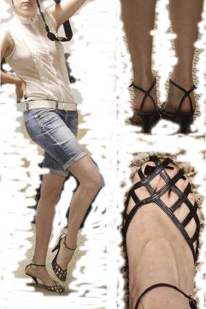 beige unknown brand blouse - blue shorts - black shoes