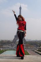 red top - black top - black Pimkie leggings - red Markiza socks - black Fantasy