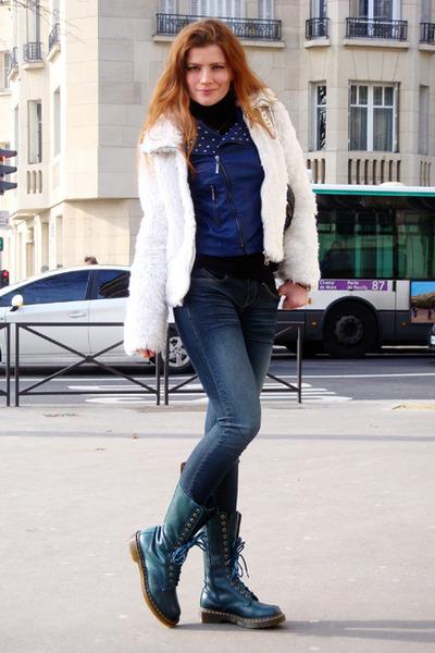 31d61d24aa4 teal Dr Martens boots - navy random jeans - blue perfecto vintage jacket -  white