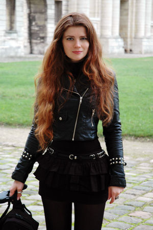 black jacket - black jennyfer skirt