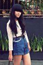White-shopdixi-dress-blue-vintage-shorts-brown-vintage-belt-gold-blackmimi