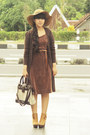 Bronze-bow-wedges-milanoo-boots-dark-brown-polkadot-vintage-dress