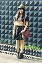 Choies skirt - asos boots - floppy Pull & Bear hat - Jamy bag - Topshop t-shirt