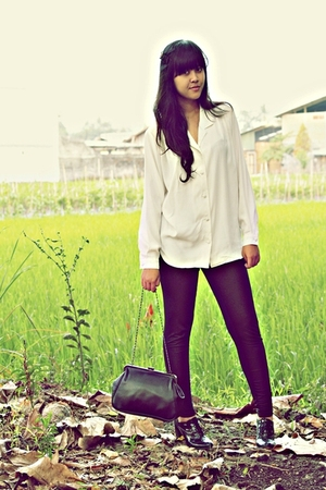 Thrift Store blazer - Thrift Store blouse - Topshop leggings - Forever 21 glasse