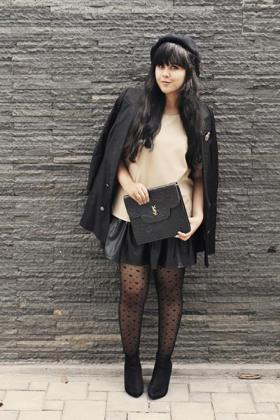 black River Island blazer - black asos boots - black Gipsy tights