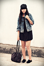 Black-bloop-dress-black-thrift-store-cardigan-blue-vintage-jacket-white-am