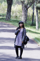 black opaque asos tights - heather gray tartan Topshop dress