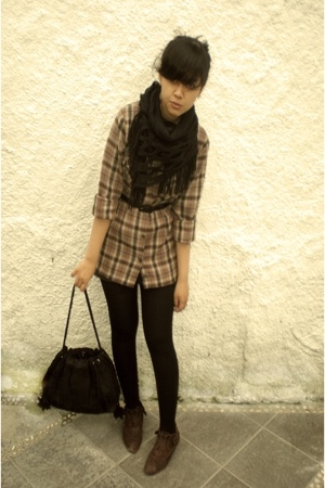 Thrift Store shirt - Local store tights - vintage belt - moms closet scarf - Thr