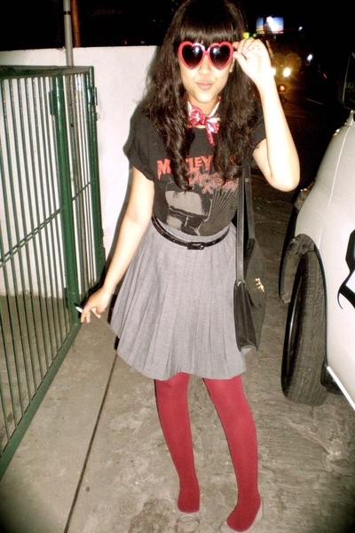 Motley Crue t-shirt - thrifted skirt - Calliope shoes - Yves Saint Laurent purse
