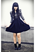 black asymmetrical Topshop Boutique skirt - black Topshop boots