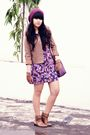 Brown-thrift-store-jacket-purple-topshop-dress-purple-forever-21-hat-brown