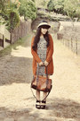 Black-aztec-skater-new-look-dress-black-bowy-straw-local-store-hat