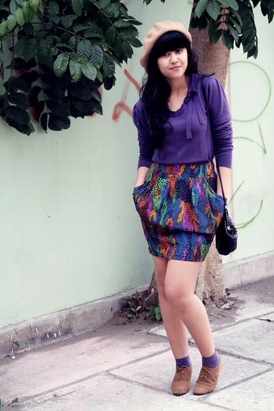 purple vintage sweater - blue gifted skirt - beige Ebay hat - purple sox gallery