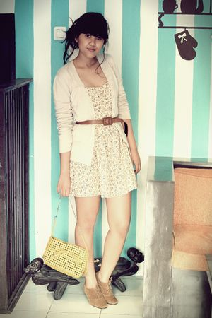 brown bought in Bandung boots - beige Local Boutique dress - yellow vintage bag