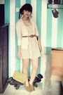 Beige-local-boutique-dress-beige-zara-cardigan-brown-vintage-belt-brown-bo