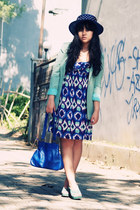 blue bluish abstract Body & Soul dress - navy vintage hat