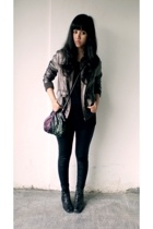Body & Soul t-shirt - Topshop leggings - Divided by H&M jacket - Blackmimi neckl