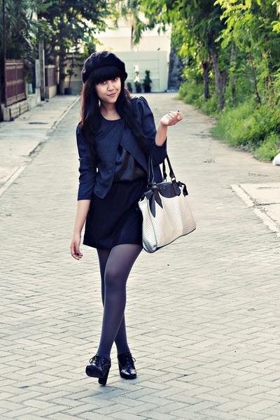 black Misch top - black Forever 21 shoes - black beret Ebay hat