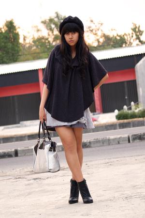 black Topshop boots - black wool beret Ebay hat