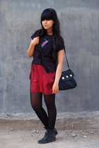 Fruit of the Loom t-shirt - Thrift Store blouse - Invictus skirt - random store