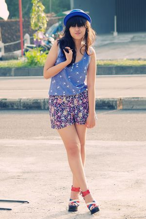blue royal bowler Local store hat - blue Topshop shoes - blue Daisy Days shorts