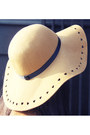 Camel-oasap-hat-brown-suede-polkadot-vintage-blazer