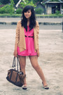 Beige-vintage-cardigan-pink-djody-dress-brown-bloop-endorse-skirt-brown-vi