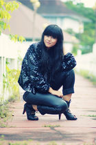 black sequined vintage cardigan - black Japanese store shoes