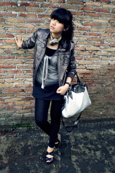 silver H&M jacket - black Chrysalis shoes - black wet look Topshop leggings