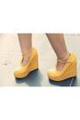 Mustard-ankle-strap-milanoo-wedges-camel-beret-ebay-hat