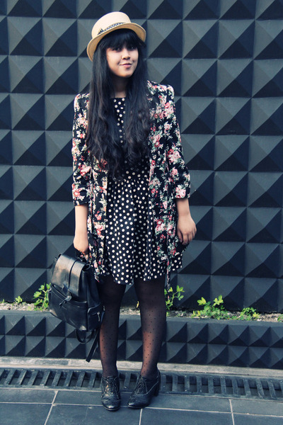 black polkadot skater Primark dress - black Primark coat