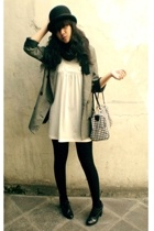 thrifted blazer - black Forever21 shoes - white mini tunic Ciel dress